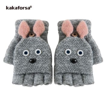 Kakaforsa Cute Rabbit Fingerless Gloves Winter Lovely Animal Knitted Mittens for Girls Students Women Warm Thick Knit Glove