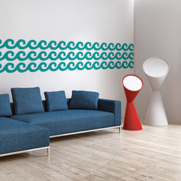 Wall Decal Geometric Beach Waves Water Mod Modern Retro Summer Pattern Abstract Shapes