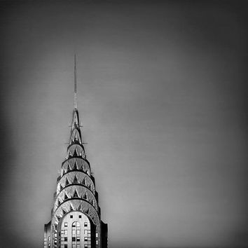 Chrysler Building Photograph Silver Black and white New York City print- dark wall decor 12x12