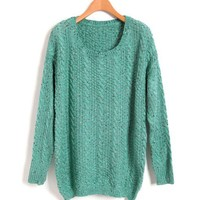 Vintage Scoop Neckline Sweaters with Batwing sleeves in Green