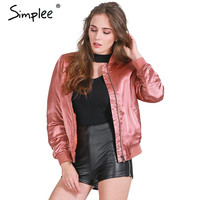 Simplee Army green basic jackets coat MA-1 satin bomber jacket women streetwear Autumn winter casual padded black jacket parka