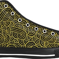 Faux gold and black swirls doodles Black High Tops