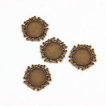 Fit 14mm Round Flower  Antique Bronze Pendants Setting Cabochon Cameo Base Tray Bezel Blank DIY Jewelry  Findings