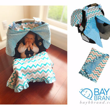Blue and Grey Chevron Combo - Car Seat Cover & Blanket