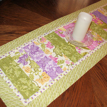 """Quilted Table Runner for Spring, Green and Lavender Strippy Easter Table Runner Quilt, 44"""" x 15"""""""