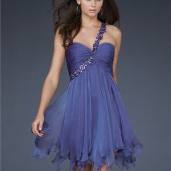 Short One Shoulder Sweetheart Pleated Chiffon Prom Dress PD1920