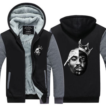 Notorious Big 2PAC Eazy Tupac Ready To Die Skateboard Thicken Fleece Zipper Jacket Hoodies Hoody Men Winter USA size Plus size