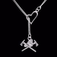 Firefighter Axe Helmet Fireman Wife Girlfriend Daughter Gift Lariat Necklace