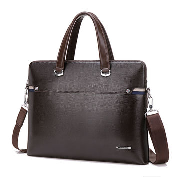 Luxury Leather Attache Case Men Briefcase Male Leather Office Bags for Men Work Bag Leather Laptop Bag Over Shoulder 2016
