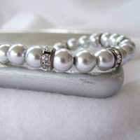 Pale Gray and Gunmetal Gray Faux Pearl and Crystal Beaded Bracelet - Handmade Jewelry - Wedding Jewelry - Bridesmaid Gift - Ready to Ship