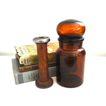 Apothecary Glass Jar Bottle with Bubble Lid Made in Belgium In Amber Brown