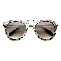 Womens Retro Fashion Floral Print Metal Temple P3 Round Sunglasses