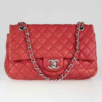 Chanel Fuchsia Washed Quilted Caviar Leather Medium Double Flap Bag