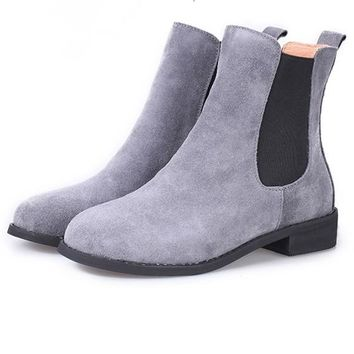 New Women Grey Round Toe Chunky Casual Ankle Martin Boots
