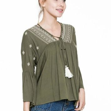 Long Sleeve Embroidery Tassel Baby Doll Top - Olive