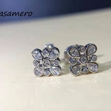 LASAMERO 0.5CTW 18K White Gold Round Cut Natural Diamond Cluster Earrings Halo Stud Earrings Fine Jewelry Earring Studs