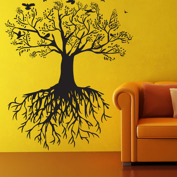 Vinyl Wall Decal Sticker Tree with Birds #OS_DC176