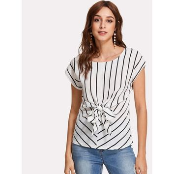 White Knotted Front Striped Chiffon Top