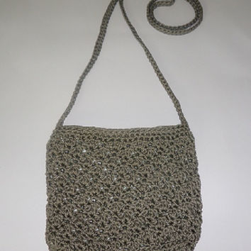 Khaki Crochet Should Strap Purse Bag, Womens Bag, Teen Girls Bag, Crotchet Purse, Red Hip Bag,
