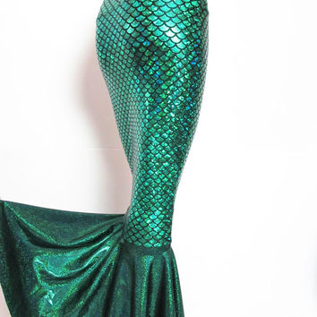 Green Mermaid scale skirt  Stretch Costume Party ZanzaDesignsClothing