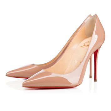 Best Online Sale Christian Louboutin Cl Decollete 554 Nude Patent Leather 100mm Stiletto Heel Classic