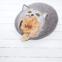 Cat bed Cat house Cats cave pets dog house Natural  Grey
