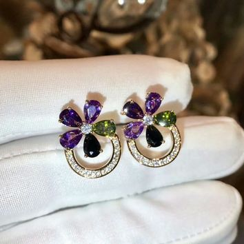 2018 New Bvlgari purple green gemstone colourful brick and stone high-end fashion jewelry S925 Sterling Silver Earring cartilage hoop   stud drop
