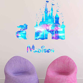 kcik1974 Full Color Wall decal Watercolor Character Disney Castle The Little Mermaid Princess Ariel Girl name personalized Child's name