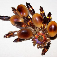 "Beau Jewels Brooch Pin Root Beer AB Rhinestones Tiered High Fashion 2.5"" Vintage"