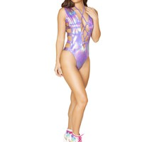 Purple Holographic Lace Up Romper Rave Clothing