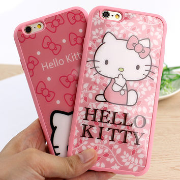 Cute Hello Kitty Mirror Case For iphone 6 6s SE 5 S Fundas Phone Cases Accessories Protector Case For iphone 6Plus 6s Plus Cover
