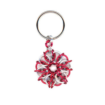 Red and Silver Pendant, or Keyring, or Purse Charm, Options