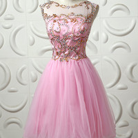 Pink homecoming dress, tulle prom dress, short prom dress, backless prom dress online, 2015 prom dress