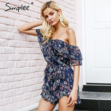 Simplee Tiered ruffles off shoulder boho jumpsuit romper Sexy floral print chiffon playsuit women 2018 Tie up summer jumpsuit