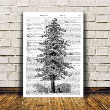 Pine tree poster Nature art Modern decor Dictionary print RTA30