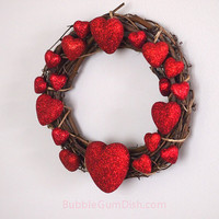 Valentine's Day Hearts Wreath Glittered Red Hearts Grapevine Wreath 10 inch