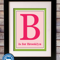 Personalized Initial Print for Children's Room or Nursery - Custom Colors and Initial - Nursery Art - 8x10
