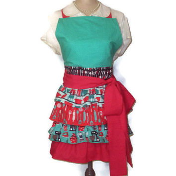Table Talk Kitchen Appliance (Robert Kaufman) Full Apron with Four Tiered Skirt - Adult