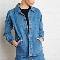 Snap-Button Boxy Denim Jacket