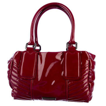 Burberry Quilted Patent Leather Bowling Bag