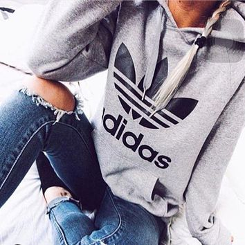 Gray Adidas Print Women's Long Sleeve Hoodies Sweater Tops