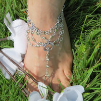 Sized Pair Heart Barefoot Sandals, Sandles, Foot Jewelry, Beach Jewelry, Beach Accessory, Heart Jewelry, Body Jewelry, Elastic, Stretchy, Si
