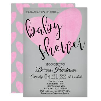 Pink Heart Baby Shower Invitation Modern Script