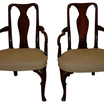 English Queen Anne-Style  Chairs, Pair