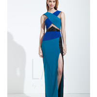 LM by Mignon LM1494 Blue Multi Color Cut-Out Block Dress 2015 Prom Dresses