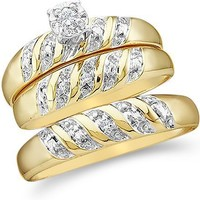 "Size - 7 - 10k Yellow and White 2 Two Tone Gold Mens and Ladies Couple His & Hers Trio 3 Three Ring Bridal Matching Engagement Wedding Ring Band Set - Round Diamonds - Solitaire Center Setting (.07 cttw) - SEE ""PRODUCT DESCRIPTION"" TO CHOOSE BOTH SIZES"