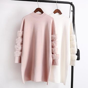 Winter Female Hairy Fur Splicing Sleeve Warm Sweater Solid Color Women Autumn Long-sleeve Jumpers Pull Femme Knitted Pullovers