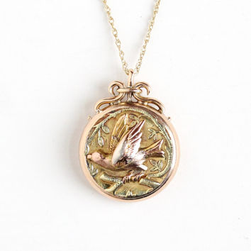 Antique Victorian 14k Gold Swallow Pendant Necklace - Late 1800s Vintage Tri Color Rose Yellow Green Gold Bird on Branch Fine Fob Jewelry