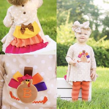 Thanksgiving day baby girls clothes Fall outfits cotton boutiques turkey back ruffle polka top with striped pant match bows