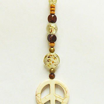 White Howlite 2 Peace Sign Rear View Mirror Dangle   Suncatcher  Car Decor  Hemp